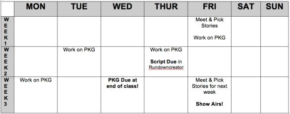 WSRH Sample Week Schedule